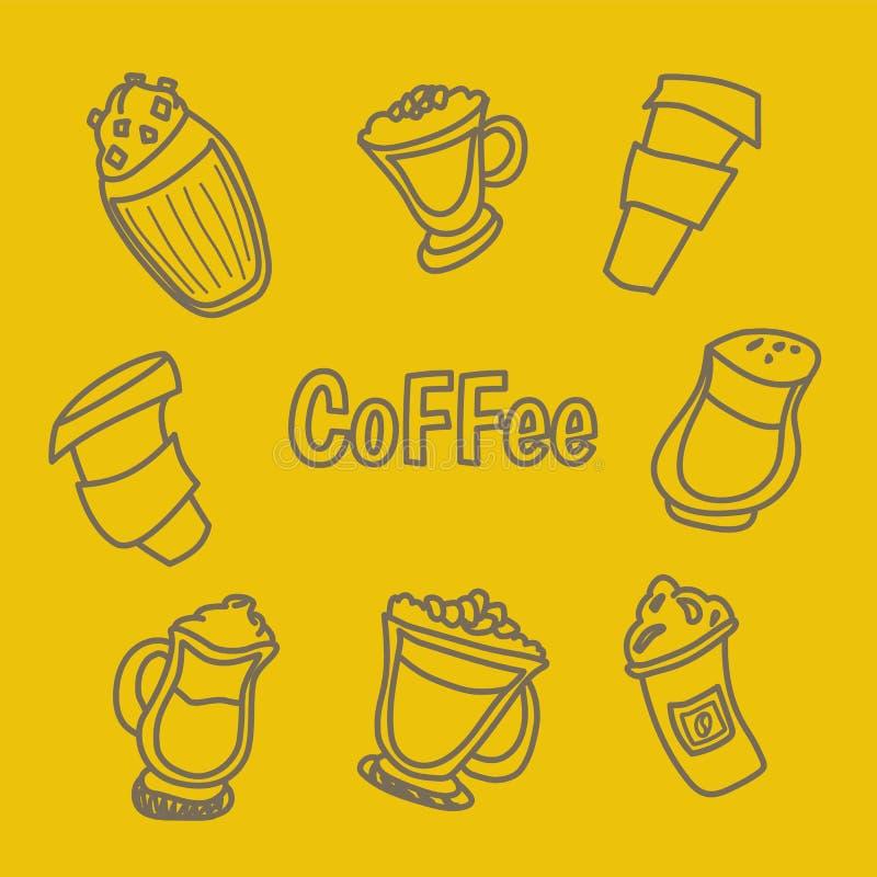 Handdrawn ilustracja kawa set royalty ilustracja
