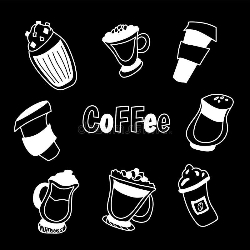 Handdrawn ilustracja kawa set ilustracji