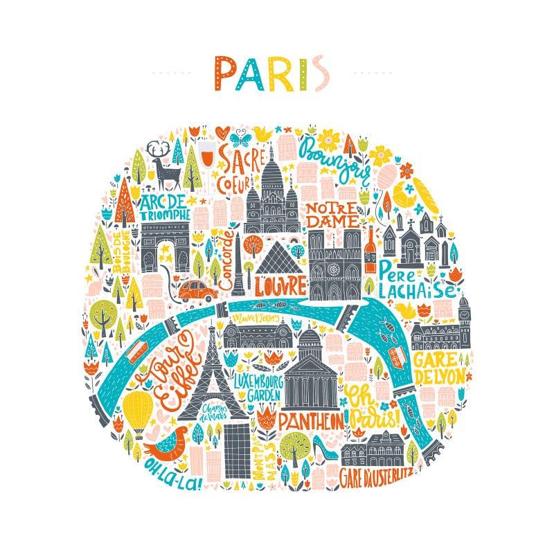 Handdrawn Kaart van Parijs stock illustratie