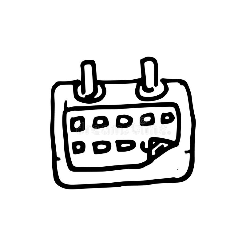 Handdrawn kalendarzowa doodle ikona Ręka rysujący czarny nakreślenie Szyldowy sy royalty ilustracja