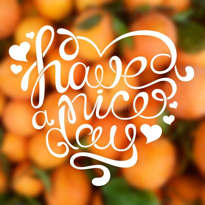 Handdrawn kalligraphisches Phrase ` haben ein schöner Tag-` stock abbildung