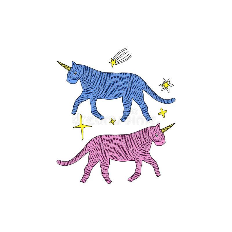 Handdrawn Katzeneinhörner und magische Staub Karikatur kritzeln dumme Art Halloween-, Heide-, Hexerei- und Märchenthema Vektor stock abbildung