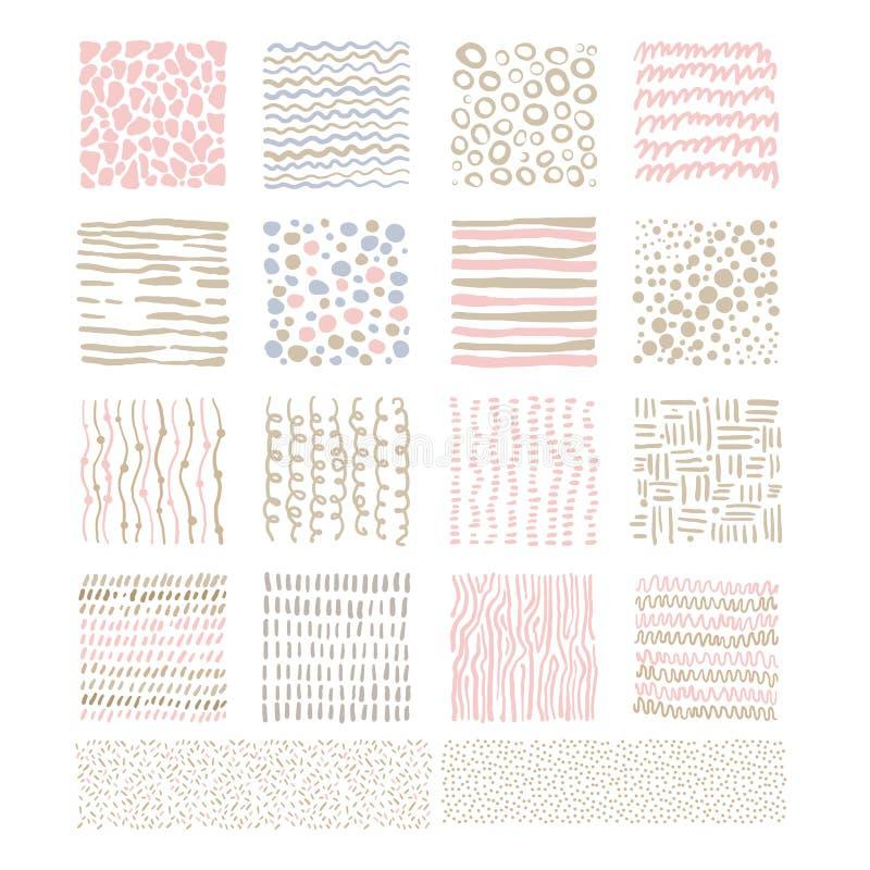Handdrawn klottertexturer, vektoruppsättning stock illustrationer