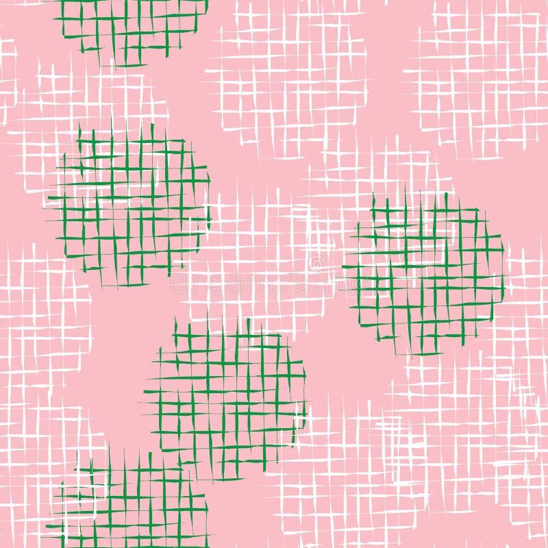 Handdrawn klottra rastret texturerade sömlösa modellen för cirklar vektor illustrationer