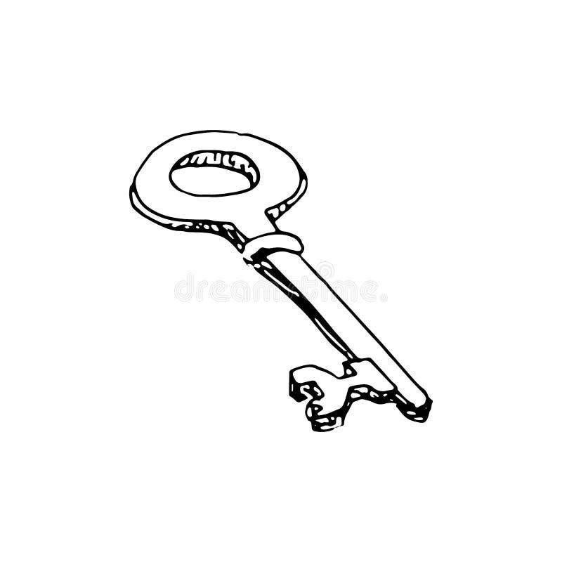 Handdrawn kluczowa doodle ikona Ręka rysujący czarny nakreślenie szyldowy symbol royalty ilustracja