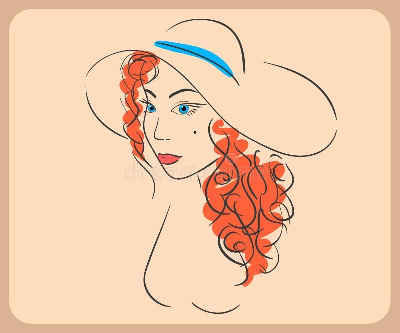 Handdrawn kobieta jest ubranym falistego czerwonego włosy i kapelusz royalty ilustracja
