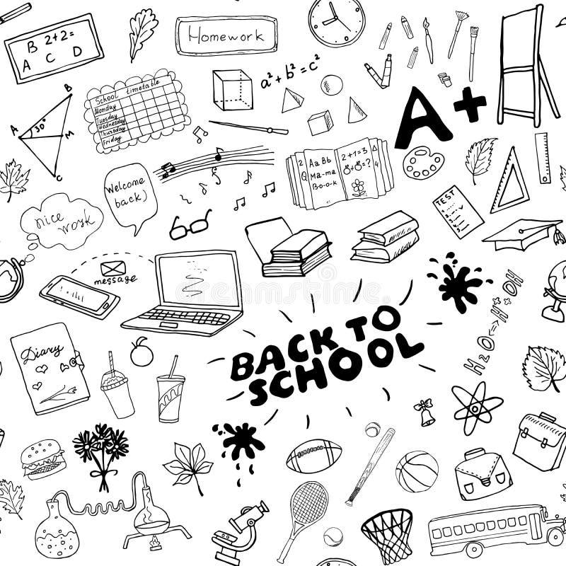 HandDrawn Krabbels van het school de naadloze patroon, Vectorillustratie vector illustratie