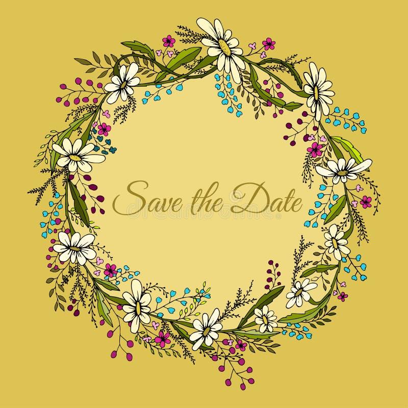 Handdrawn krans som göras i vektor Unik garnering för hälsningkortet, bröllopinbjudan, sparar datumet stock illustrationer