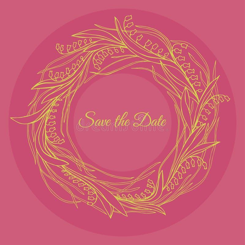 Handdrawn krans som göras i vektor Unik garnering för hälsningkortet, bröllopinbjudan, sparar datumet vektor illustrationer