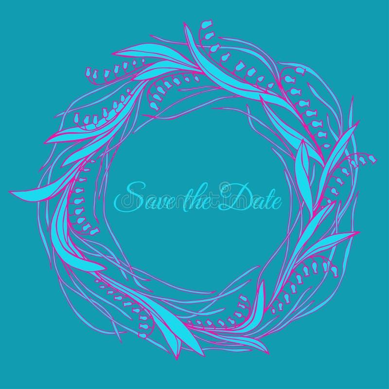 Handdrawn krans som göras i vektor Unik garnering för hälsningkortet, bröllopinbjudan, sparar datumet royaltyfri illustrationer