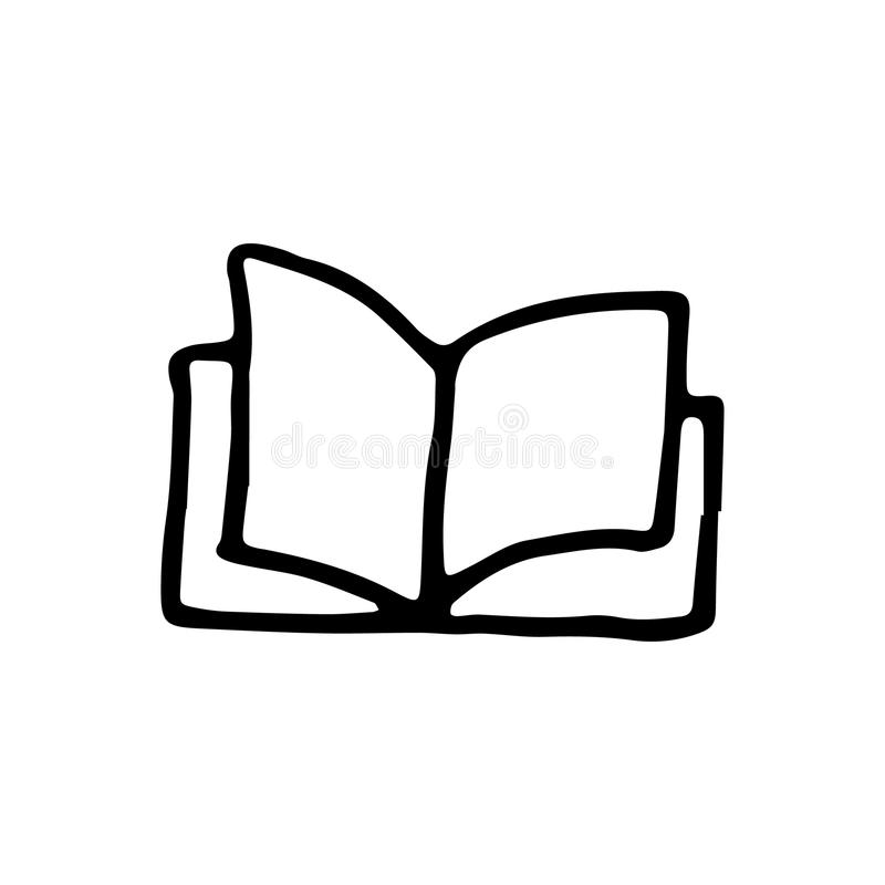 Handdrawn książkowa doodle ikona Ręka rysujący czarny nakreślenie szyldowy symbol ilustracji