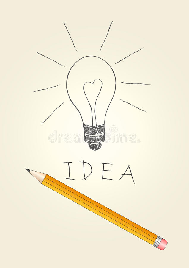 Download Handdrawn Light Bulb And Pencil Royalty Free Stock Photography - Image: 12921217