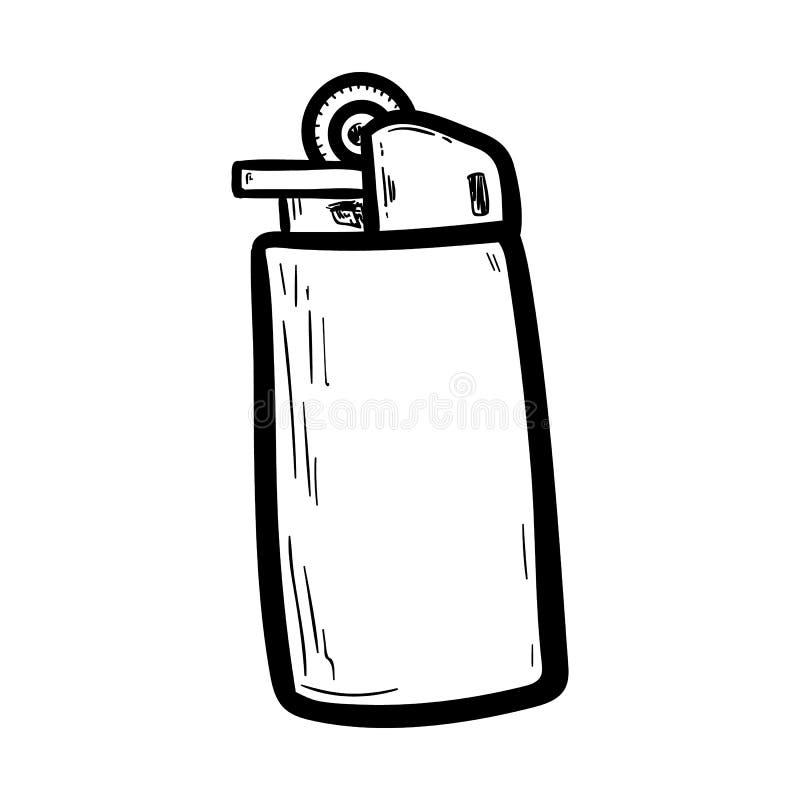 Handdrawn lighter doodle icon. Hand drawn black sketch. Sign cartoon symbol. Decoration element. White background. Isolated. Flat stock illustration
