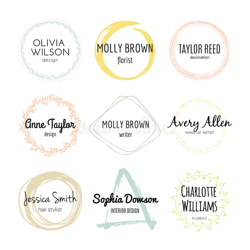 Handdrawn Logo Collection. Unique handdrawn logo template collection. Abstract hand sketched shapes for branding design. Real ink texture royalty free illustration