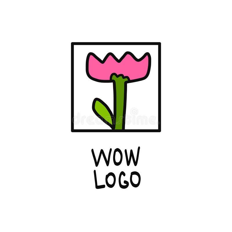 Handdrawn logo för tulpan royaltyfri illustrationer