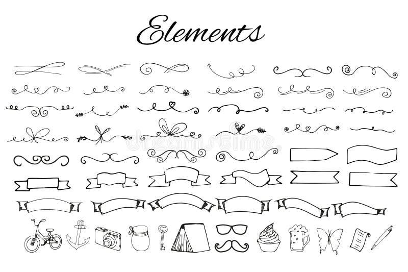 Handdrawn logobeståndsdelar stock illustrationer