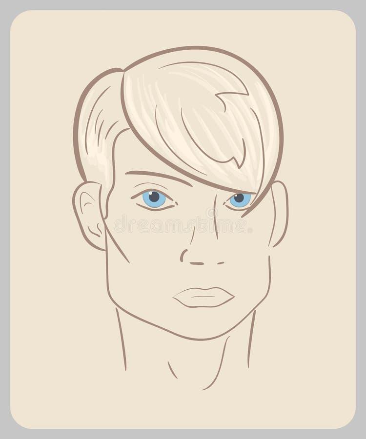 Handdrawn Manngesicht mit blauen Augen und dem blonden Haar lizenzfreie abbildung