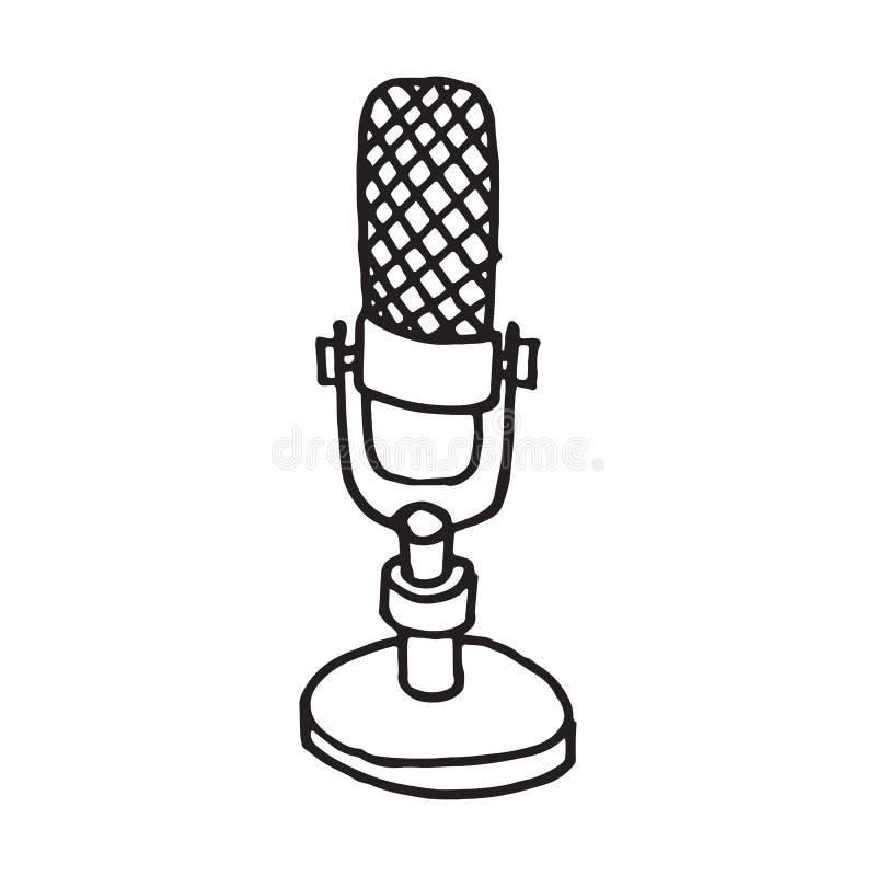Handdrawn mikrofonu doodle ikona ilustracja wektor