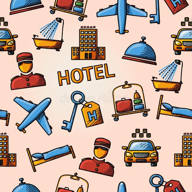 Handdrawn modell för sömlöst hotell royaltyfri illustrationer