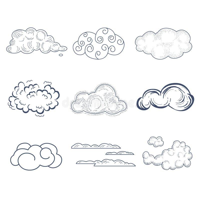 Handdrawn molnsamling också vektor för coreldrawillustration royaltyfri illustrationer