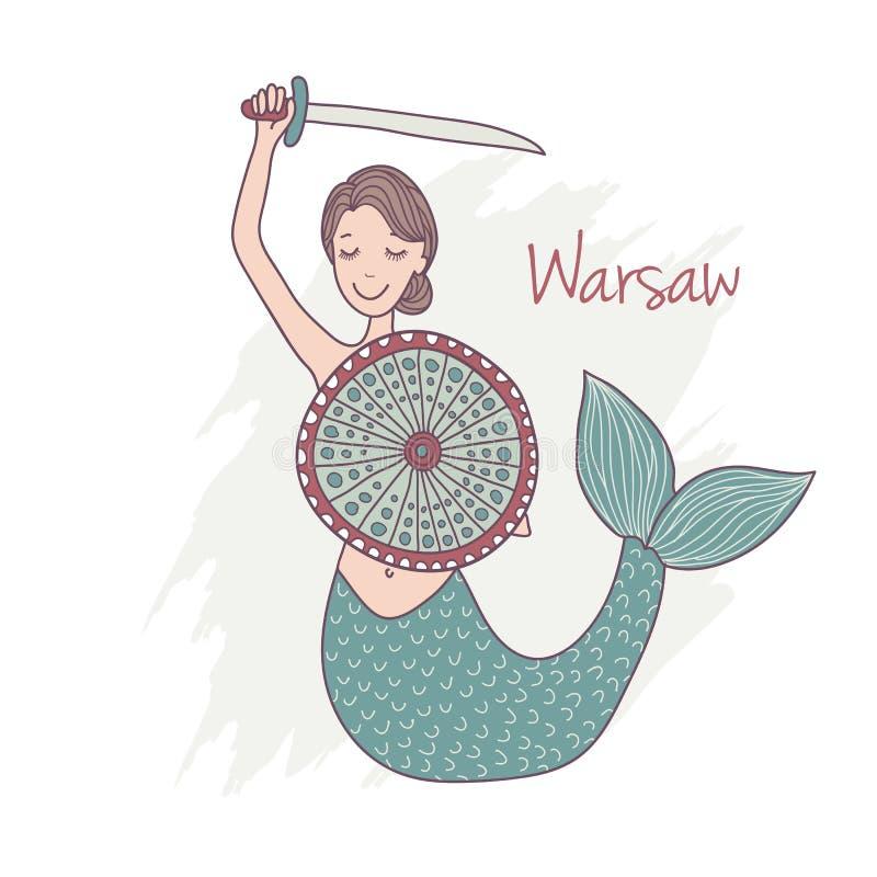 Handdrawn Monument of mermaid in Warsaw Poland stock illustration