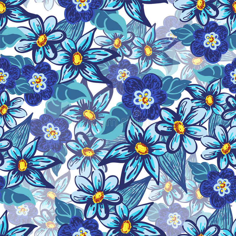 Handdrawn nahtloses mit Blumenmuster stock abbildung