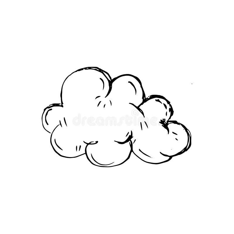Handdrawn obłoczna doodle ikona Ręka rysujący czarny nakreślenie Szyldowy symbo royalty ilustracja