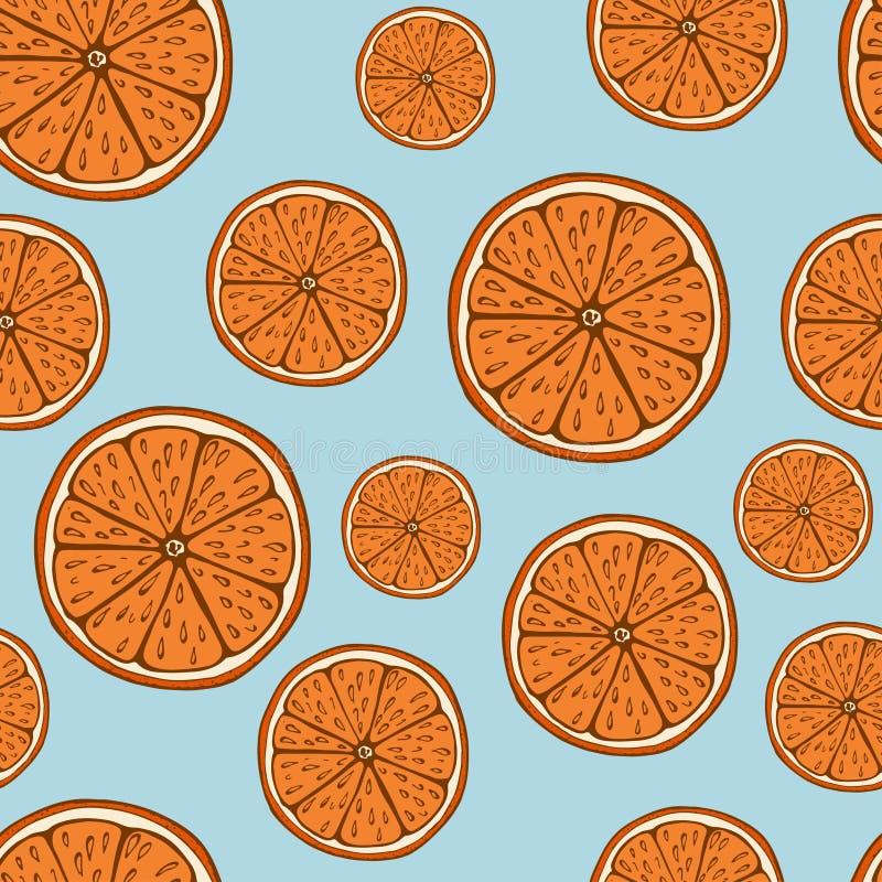Handdrawn overzees, minder patroon met oranje fruit op blauwe achtergrond stock illustratie