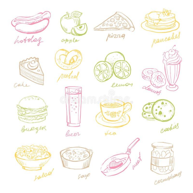 Handdrawn owoc i fast food Wektorowy Illustartion royalty ilustracja