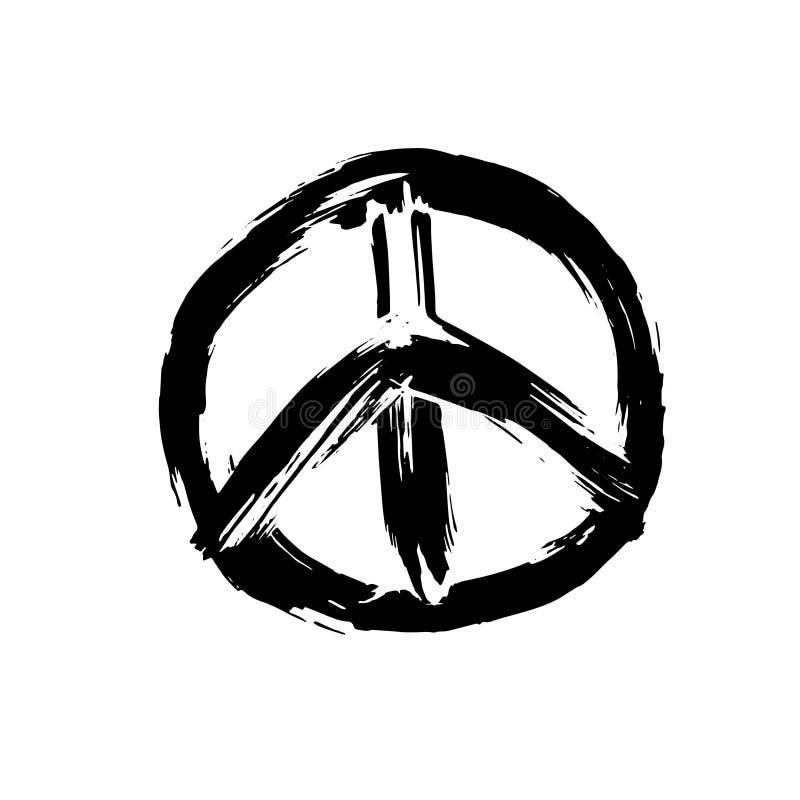 Handdrawn pacyfisty znak, pokoju symbol, czerni muśnięcia farba Hipisa grunge ikona na białym tle wektor royalty ilustracja