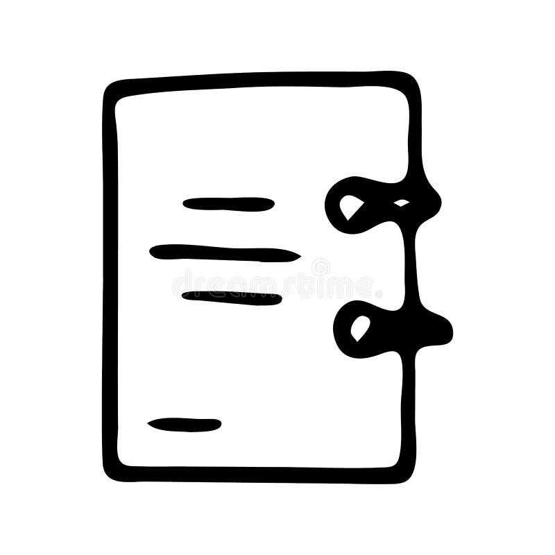 Handdrawn pictogram van de notitieboekjekrabbel Hand getrokken zwarte schets Teken sy vector illustratie