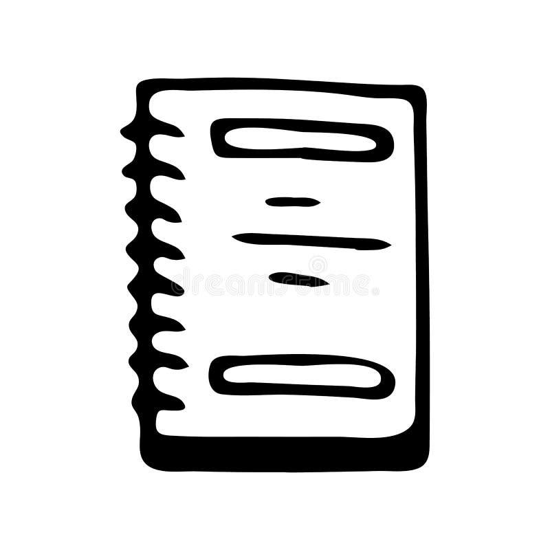 Handdrawn pictogram van de notitieboekjekrabbel Hand getrokken zwarte schets Teken sy stock illustratie