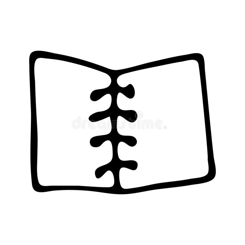 Handdrawn pictogram van de notitieboekjekrabbel Hand getrokken zwarte schets Teken sy royalty-vrije illustratie
