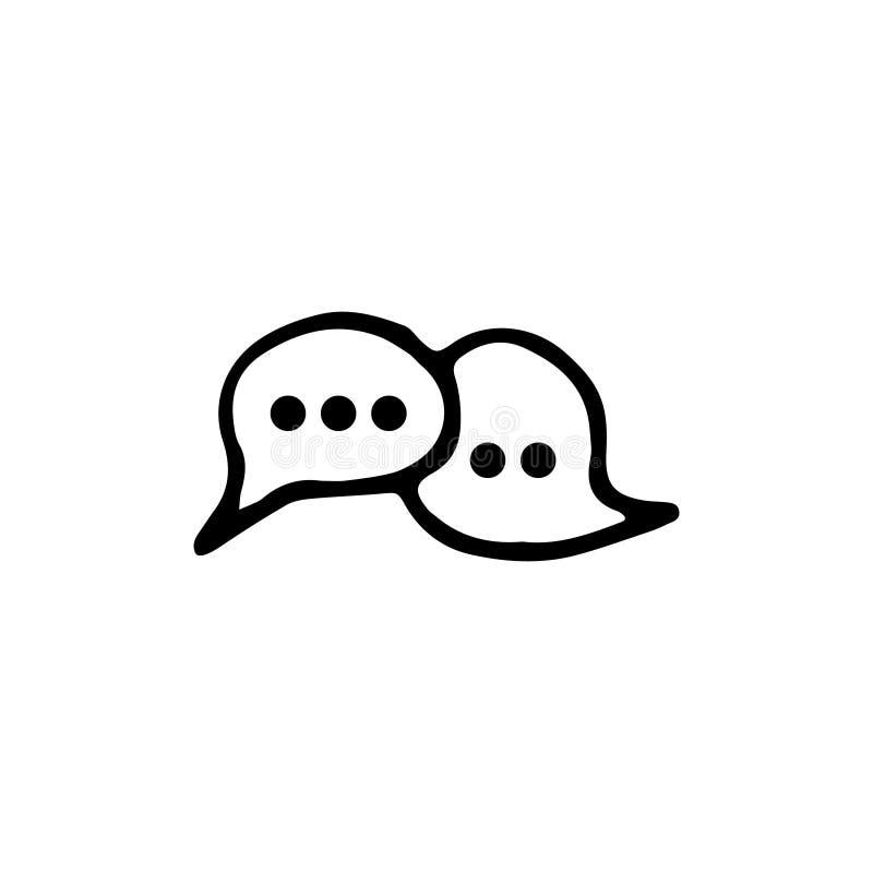 Handdrawn pictogram van het krabbelpraatje Hand getrokken zwarte schets tekensymbool stock illustratie