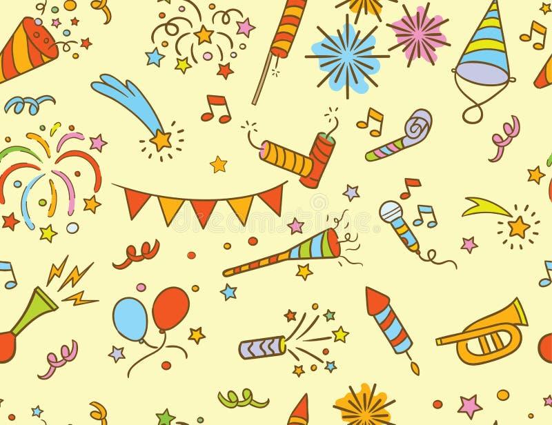 Handdrawn przyjęcia & świętowania doodle wzór royalty ilustracja