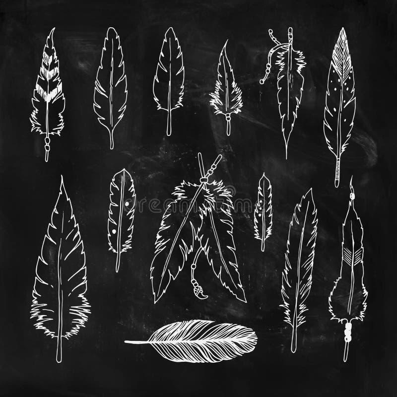 Handdrawn reeks veren vector illustratie
