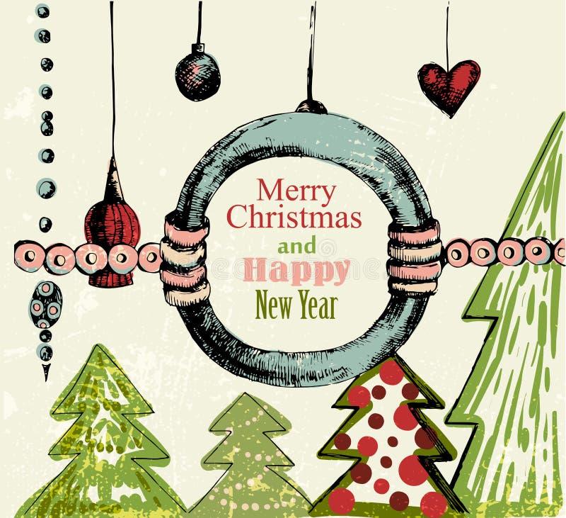 Handdrawn Retro Christmas Background Stock Photos