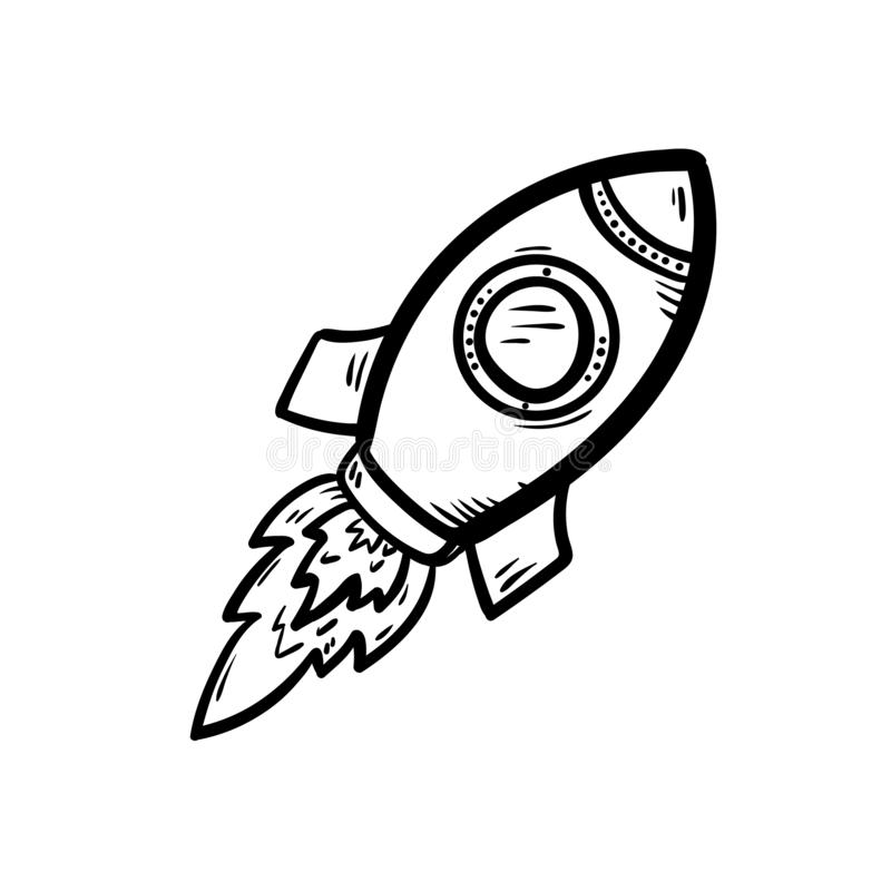 Handdrawn rocket doodle icon. Hand drawn black sketch. Sign symbol. Decoration element. White background. Isolated. Flat design. Vector illustration, drawing stock illustration