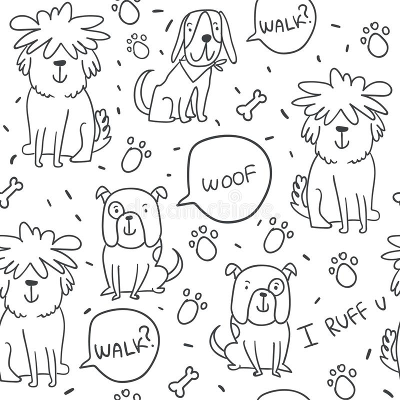 Handdrawn sömlös modell med klotterhundkapplöpning royaltyfri illustrationer