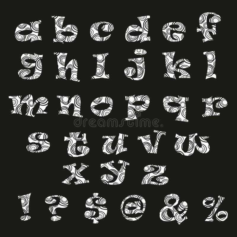 Handdrawn Schwarzweiss-Alphabet lizenzfreie abbildung