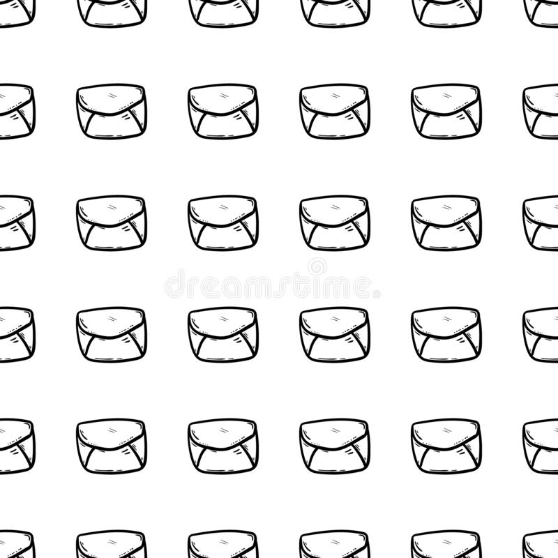 Handdrawn seamless pattern envelope doodle icon. Hand drawn black sketch. Sign symbol. Decoration element. White background. stock illustration