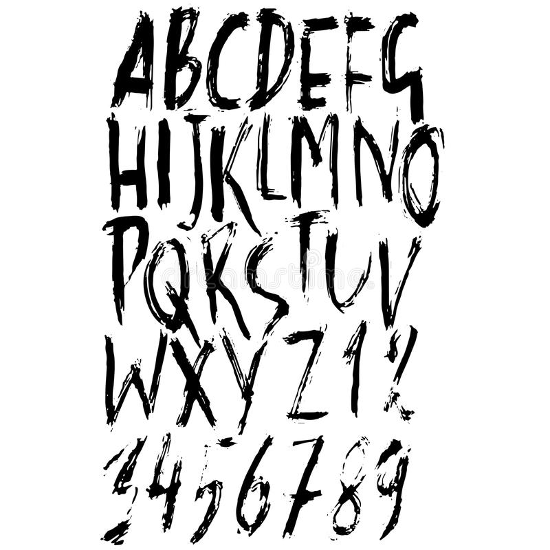 Handdrawn seque la fuente del cepillo Letras modernas del cepillo Alfabeto del estilo del Grunge Ilustración del vector libre illustration