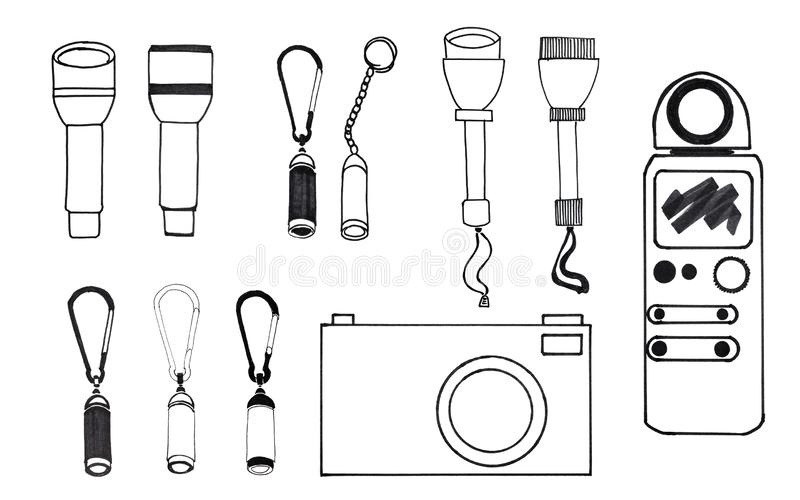 Sketch of various portable devices royalty free stock photo