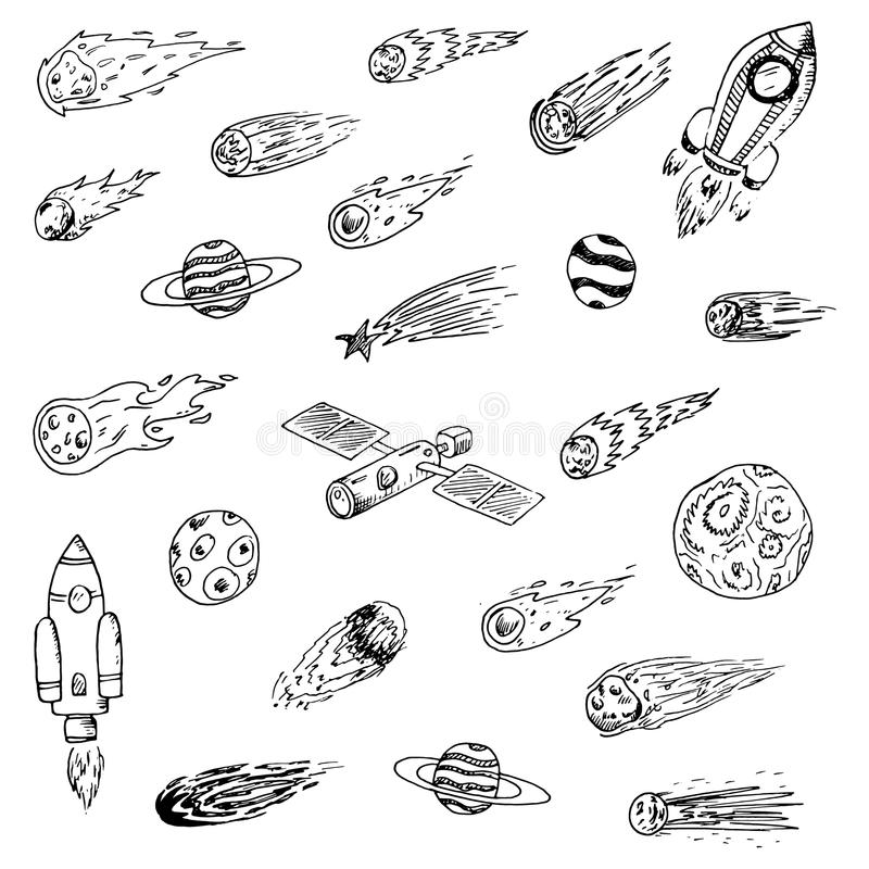 Handdrawn space objects doodles set. Spaceships,comets, planets, satellite, asteroids, cosmos stars. Astronomy sketch style icons royalty free illustration