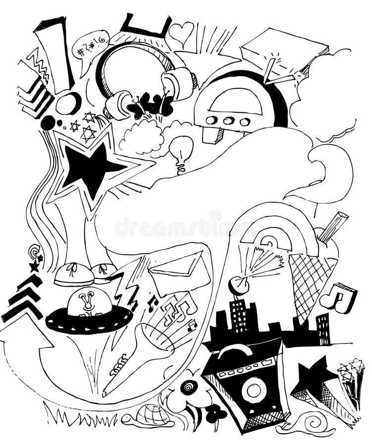 handdrawn stads- illustrationmusik stock illustrationer