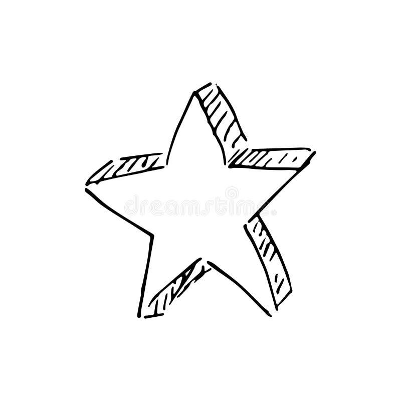 Handdrawn stjärnaklottersymbol Handen dragen svart skissar teckensymbol vektor illustrationer