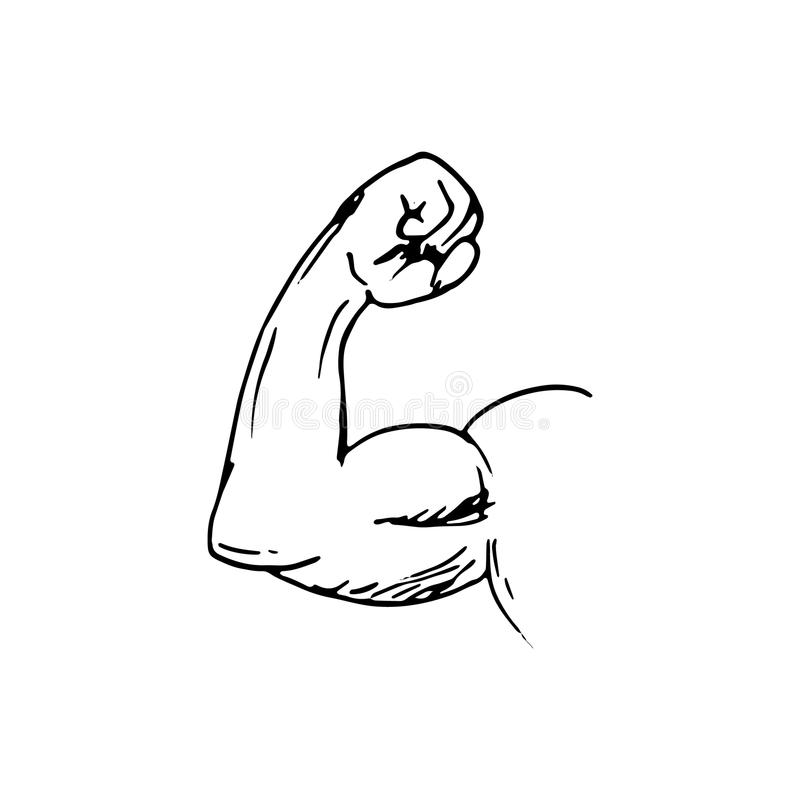 Handdrawn strong arm doodle icon. Hand drawn black sketch. Sign. Symbol. Decoration element. White background. Isolated. Flat design. Vector illustration royalty free illustration