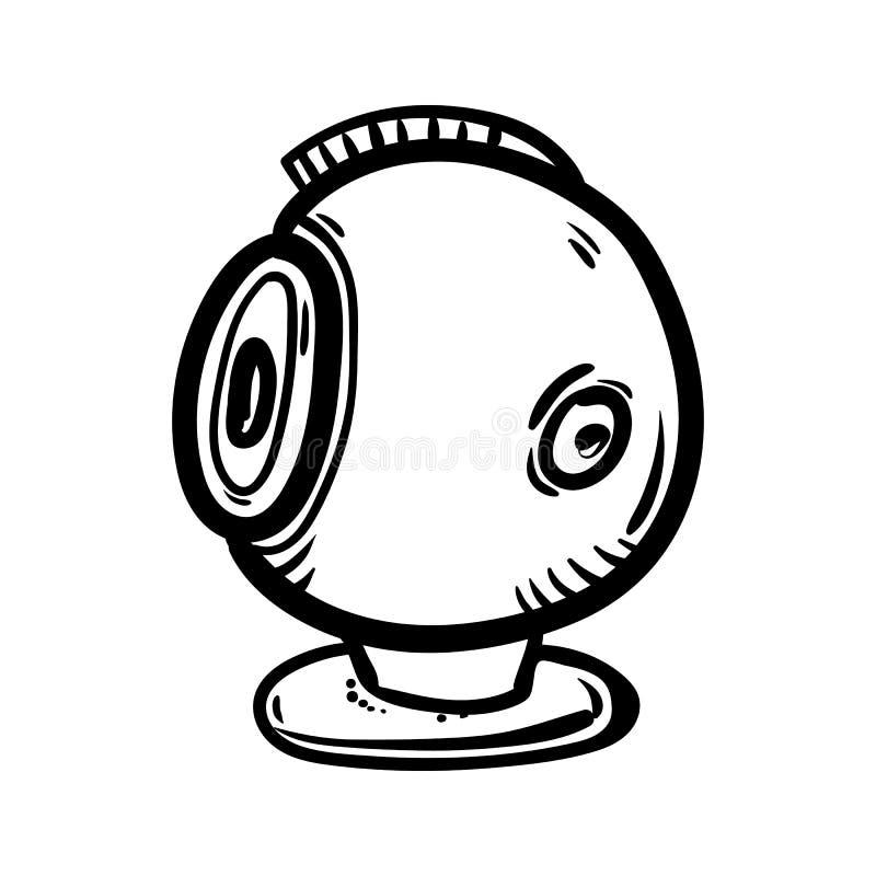 Handdrawn Surveillance Camera doodle icon. Hand drawn black sketch. Sign symbol. Decoration element. White background. Isolated. royalty free illustration