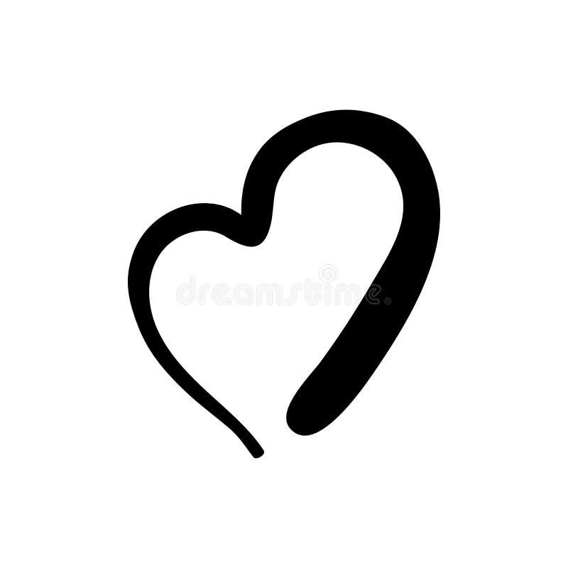 Handdrawn szorstki markiera serce odizolowywający ilustracji