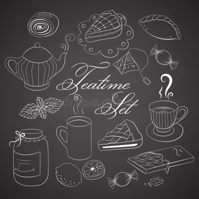 Handdrawn teatimeuppsättning på den svarta svart tavlan royaltyfri illustrationer